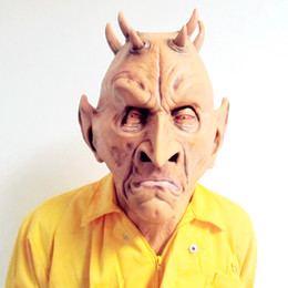 Wholesale Silicone Alien Mask - Free shipping Halloween Party Cosplay Scary Silicone Face Mask Alien UFO Extra Terrestrial Party ET Horror Rubber Latex Full Masks