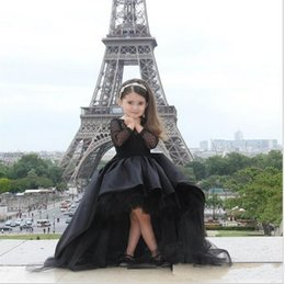 Lovey Black Princess Flower Girls' Dresses Tutu Dress Crew Long Sleeve Sash Ball Gown Hi Lo Wedding Party Gown Girl Pageant Dress