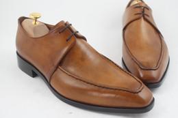 Men Dress shoes Men's shoes Oxfords shoes Custom handmade shoes Genuine calf Leather Derby shoes Color Brown HD-057