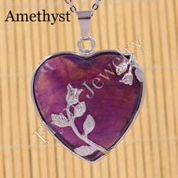 Silver Plated Amethyst Red Agate etc Natural Stone Heart Rose Mascot Reiki Pendant Charms Amulet European Fashion Jewelry 10pcs
