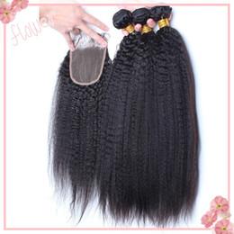 Virgin Malaysian Kinky Straight Hair With Closure,Coarse Yaki Lace Closure With 3 Bundles, Italian Yaki Human Hair Weave With Top Closures