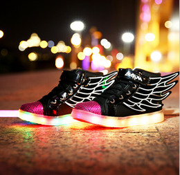 Wholesale Children s shoes fall new wings boy USB charge LED multi shift light shoes leisure shoes HJIA119