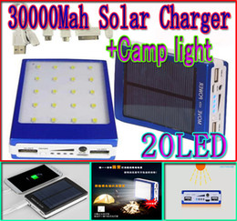 30000mah solar camping light charger 20 led 30000 mah power bank 20led camp lights Dual USB battery energy Panel chargers Ports SOS help