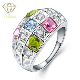 Platinum Wedding Rings New Fashion 18K Geometric Colorful Austrian Crystal Ring Fashion Platinum Plated Jewelry for Couples Party