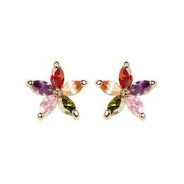 Five Flower Zircon Stud Earrings Fashion High-Grade Women Earrings Crystal Daisy Flower Earrings Fine Jewelry 8181