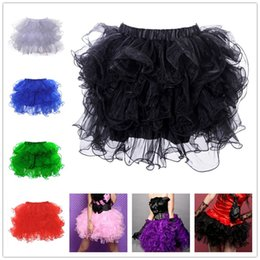 Wholesale Satin Gowns Skirts Petticoats - Adult Ruffly Tulle Tutu Skirts For Womens Clothes Sexy Petticoat Party Halloween Dance Costumes Clubwear S L XXL