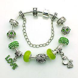 Free Shipping Fashion Charm Bracelets Personality Infinity Silver Plated European Crystal Glass Beads DIY Bracelets Jewelry