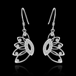 Wholesale Brand new sterling silver Insets banana tree earrings DFMSE485 women s silver Dangle Chandelier wedding gemstone earrings factory direct