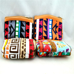 New Women & Kids Canvas Retro Aztec Printed Mini Coin Money Key Bag Casual Purse Wallet 12Pcs Lot Free Shipping