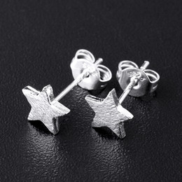 Wholesale-Hot New Fashion Cute Pure 925 Sterling Silver Tiny Star Frosted Ear Stud Earrings Gift Party Prom Wedding