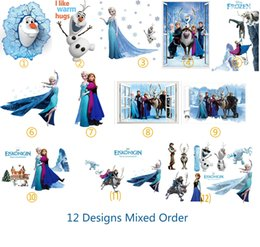 Wholesale DHL Ship Mix Order Removable Elsa Frozen Wall Stickers Olaf Decoration Princess Decorative Wall Decall for Kids Rooms Poster Wall Pape Art