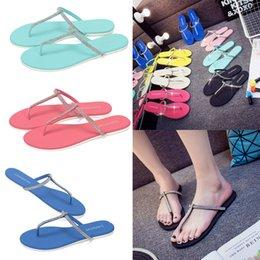 Wholesale Summer Beach Bling Bling T Shape Flip Flops Rubber Non Slip Flat Slippers T Shape Reef Sandals For Women E781L