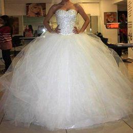 Wholesale Amazing Ruffles Puffy Wedding Gowns Floor Length Glittering Beaded Crystals Beading Bodice Wedding Dresses Sweetheart Custom Bridal Dress
