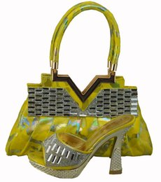 Gorgeous yellow style shoes matching bags series 1308-38, Fashion lady shoes and handbag sets for party