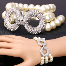 3 Layers Pearl Bracelet for Women Hot Clear Austrian Rhinestone Round Charms Luxury Multilayer Beaded Bracelet