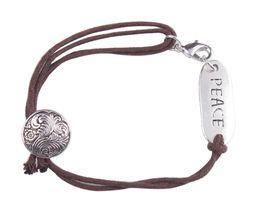 Wholesale 10PCS Fashion Brown Cord PEACE Word ID Bracelet