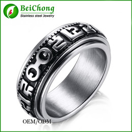 BC Jewelry Tibetan Silver Buddhist six words mantras Ring,Man`s Turn adjustable ring,OM MANI PADME HUM 14mm Best offer BC-171
