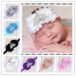 50pcs High Quality Baby Shabby Flower Headbands With Crown Rhinestone Girl Hairbands Hair Accessories Toddler Chiffon Flower Hair band