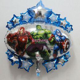 Wholesale Edge cartoon balloons trade Avengers balloon six sided aluminum ballon Superman party supplies helium foil balloons globos JIA067