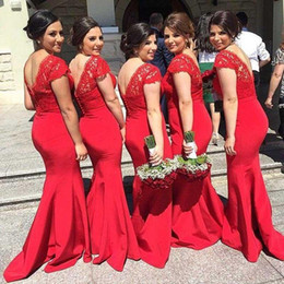 2019 Fashion Long Red Bridesmaid Dresses Cap Sleeve V-Neck Lace Satin Floor Length Sheath Evening Gowns Zipper Back Custom Made B94