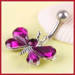 Wholesale Assurance discoutine Beautiful Rhinestone Butterfly Navel Belly Button Barbell Ring Body Piercing Save up to secure