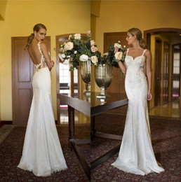 Wholesale Backless Spaghetti Strap Lace Wedding Dresses Nurit Hen Applique Beads Sweep Train Vintage Beach Bridal Gowns Vestido De Noiva