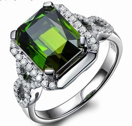 Bague tourmaline en or vert en Ligne-Livraison gratuite Solid 14K White Gold Natural Green Tourmaline Engagement Diamonds Wedding Ring (R0056)
