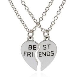Wholesale silver plated Iron chain quot BEST FRIENDS quot letter necklace Retro broken heart alloy necklace friendship theme pendant necklace