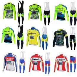 Hot 2015 Team Thinkoff Saxo Bank Winter Cycling Clothing Long Sleeve Thermal Fleece Cycling 5XL Cycling Jersey Bib Pants Set France