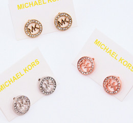 Wholesale MK Michael Kores style Tone earrings Letters stud earings Fashion jewelry brand jewellery for women girls Silver Gold Rose Gold MSE06
