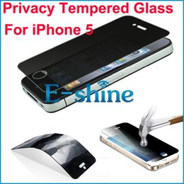 Privacy Tempered Glass For iPhone 5 Screen Protector LCD Anti-Spy Film Screen Guard Cover Shield With Package