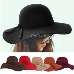 Wholesale Retro Ladies Women Wool Felt Fedora Floppy Cloche Wide Brim Bowknot Hat Cap Fx223