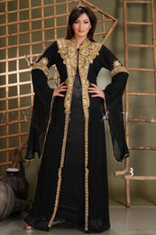 2020 New Arabic Abaya in Dubai Islamic Clothing for Women With Gold Appliques Crystal Beaded Kaftan Muslim Evening Dresses Party Prom Gowns