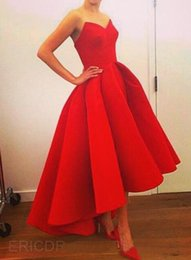 Wholesale 2016 Bright Red Sweetheart Hi Lo Prom Dresses Plus Size Satin Back Zipper Ruffles Gorgeous Sexy Girl Party Evening Gowns High Low Affordable