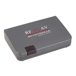 Wholesale RF Modulator RF TO AV Converter Modulator Transponder Video Adapter Cables with Remote Control Power Adapter US Plug