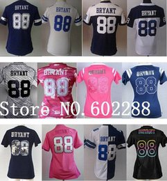 Wholesale Factory Outlet Cheap Women Dez Bryant blue white pink split gray jersey for girl lady fashion thanksgiving best quality China Authentic