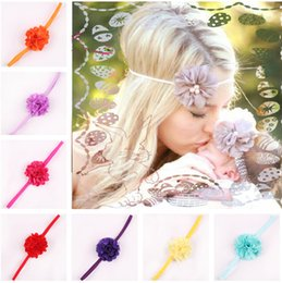 17 Color Chiffon Flower hairband Hair Accessories Baby Girls Lace Headband Baby Infant girl Hair Weave band childern hair clips