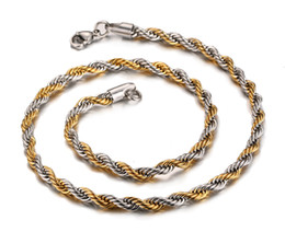 Hotsale Latest Design 21.6'' 6mm wide 316L stainless steel Silver & Gold Twisted Rope Chain Necklace for Men Fashion Jewelry