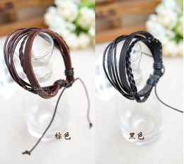 High quality Mens and Women Bracelets Wrap Multilayer Genuine Leather Bracelet with Braided Rope Fashion Jewelry Hand Made