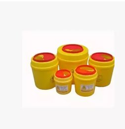 Wholesale 5pcs medical waste trash box tool box sharps box round liters of yellow plastic hygiene and environmental protection