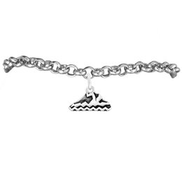 DIY Fashion Jewelry Swimmer Charm Rolo Chain Bracelets 100pcs A lot Link Chain Antique Silver Plated