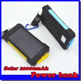 Wholesale 20000mAh universal USB Port Solar Power Bank Charger External Backup Battery With Retail Box For iPhone Samsung cellpPhone charger