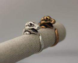 Wholesale-Hot Min 1pc T-Rex Dino Tirano Dinosaur Ring Retro Black Crystal Fashion jewelry Animals rings For women men 2015