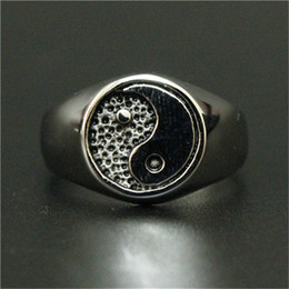 1pc New Arrival Cool the Eight Diagrams Silver Ring 316L Stainless Steel Cool Design Band Party Ring