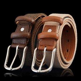 Wholesale Fashion Casual Best Quality Cotton PU leather mens Belt woven Width cm belts for men Cinturon Cinto Masculino Male