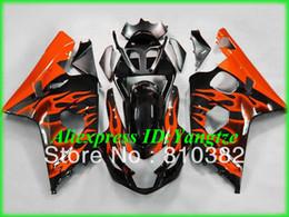 Wholesale ABS fairing kit for Suzuki GSX R600 GSXR600 GSXR750 GSX R600 K4 orange flames black paneling kit SW16