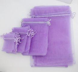 100Pcs lot 4sizes Lavender 7x9cm 9X12cm 13X18cm 20X30cm Organza Bag Jewelry Gift Pouches Bags For Wedding favors