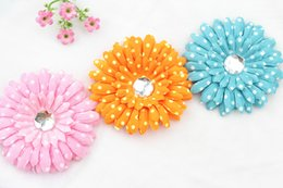Wholesale 40pcs Gerber Daisy mixed colors big Polka Dot fabric Head Flower w rhinestone center quot DIY Flower Clip Assortment