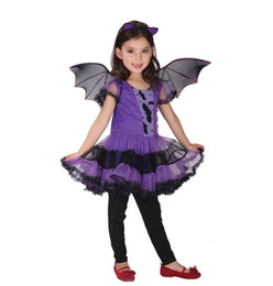 Wholesale new arrival Party Costume for Girl Children Dance Costumes for Kids Purple Bat Halloween Chrismas Costume Fancy dress