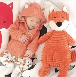 NEW ARRIVAL ! RETAIL Baby Boy Girl Sweatshirts Cute Little Fox Animal Hoodies Autumn Warm Golden Zipper Jackets Infant Clothes BABY Clothing